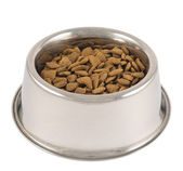 Pet's dog metal bowl isolated — Stock Photo