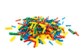 Plastic dowel pin pile isolated — Stock Photo