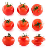 Sliced fresh tomatoes isolated over white — Stock Photo