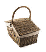 Picnic basket hamper isolated — Stock Photo