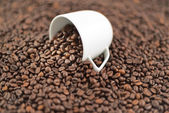 Coffee beans spilled out of cup — Stock Photo