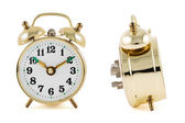 Golden mechanical alarm clock isolated — Stock Photo