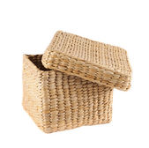 Box shaped wicker basket isolated — Stock Photo