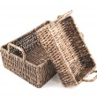 Two brown wicker baskets isolated — Stock Photo #27446877