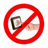 No ponga los dedos en el enchufe — Foto de Stock