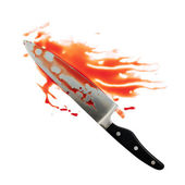 Chef's steel knife covered with blood — Stock Photo