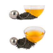 Glass piola bowl of tea isolated — Stock Photo