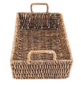 Brown wicker basket isolated — Stock Photo