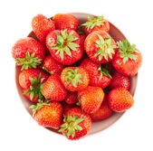 Bowl full of ripe strawberries isolated — Stock Photo