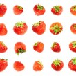 Single red strawberries isolated — Stock Photo