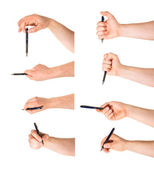 Hand holding a pen isolated — Stock Photo