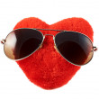 Red heart in a sunglasses — Photo