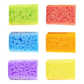 Ensemble de six éponges colorées — Photo