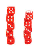 Red playing dices isolated — Stock Photo