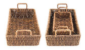 Two brown wicker baskets isolated — Stockfoto