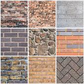Cegła mur tekstura tło zestaw — Zdjęcie stockowe