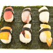 Nigirizushi sushi over nori sheet — 图库照片