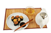 Serving sushi and tea composition — Stockfoto