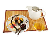 Serving sushi and tea composition — Stock Photo