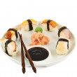 Sushi with soy sauce on a plate — Stock Photo #33087077