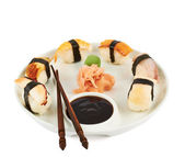 Sushi with soy sauce on a plate — Stock Photo