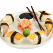 Sushi with soy sauce on a plate — Foto de Stock