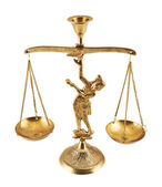 Metal two-pan scales statuette — Stock Photo