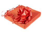 Red gift box with a bow — Stock Photo