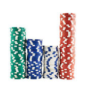 Casino playing chips stacks isolated — Stock Photo