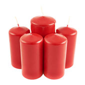Five red candle composition isolated — Stock Photo