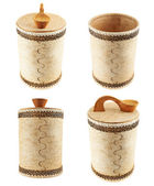 Handmade wooden cylindrical case — 图库照片