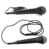 Black microphone isolated — Stock Photo