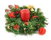 Wreath fir-tree branch decoration — Stock Photo