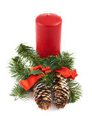 Candle and fir-tree branch composition — Stock Photo