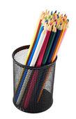 Pencil holder full of pencils — Foto de Stock
