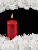Mourning candle and roses composition — Stock Photo