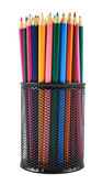 Pencil holder full of pencils — 图库照片