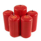 Five red candle composition isolated — Stok fotoğraf