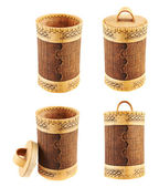 Handmade wooden cylindrical case — Stock Photo