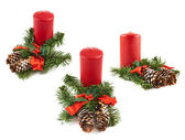 Candle and fir-tree branch composition — 图库照片