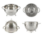 Steel strainer sieve metal bowl — Stock Photo