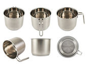 Stainless steel cooking pot isolated — Stock Photo