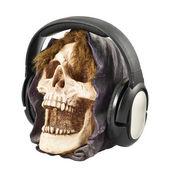 Sluchátka na hlavu keramické lebky — Stock fotografie