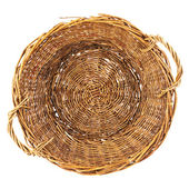 Brown wicker basket isolated — 图库照片