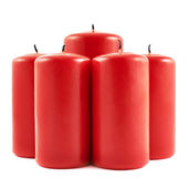 Five red candle composition isolated — 图库照片