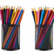 Pencil holder full of pencils — Stock Photo