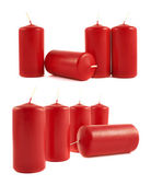 Red wax candle composition isolated — Stock Photo