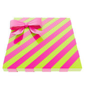 Wrapped gift box with a bow and ribbon — Stock Photo