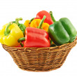 Wicker basket full of bell peppers — Stock Photo