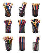 Pencil holder full of pencils — Стоковое фото